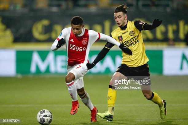 David Neres of Ajax Livio Milts of Roda JC during the Dutch Eredivisie match between Roda JC v Ajax at the Parkstad Limburg Stadium on February 7...