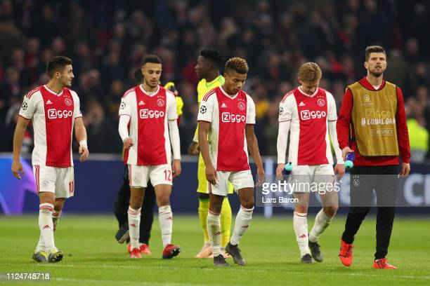 David Neres of Ajax looks dejected after the UEFA Champions League Round of 16 First Leg match between Ajax and Real Madrid at Johan Cruyff Arena on...