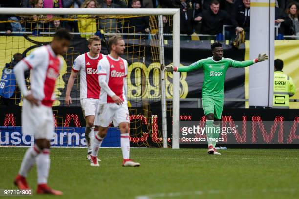 David Neres of Ajax Matthijs de Ligt of Ajax Siem de Jong of Ajax Andre Onana of Ajax disappointed after the 31 during the Dutch Eredivisie match...