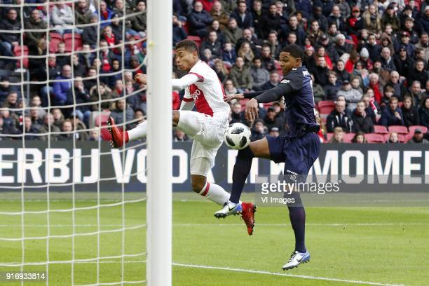 David Neres of Ajax Michael Maria of FC Twente during the Dutch Eredivisie match between Ajax Amsterdam and FC Twente Enschede at the Amsterdam Arena...