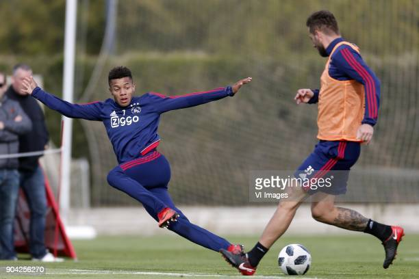 David Neres of Ajax Mitchell Dijks of Ajax during a training session of Ajax Amsterdam at the Cascada Resort on January 12 2018 in Lagos Portugal