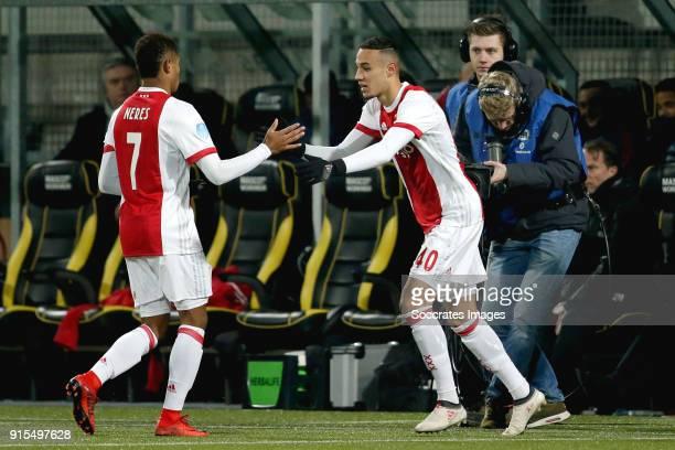 David Neres of Ajax Noussair Mazraoui of Ajax during the Dutch Eredivisie match between Roda JC v Ajax at the Parkstad Limburg Stadium on February 7...