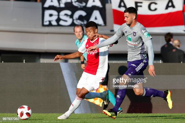 David Neres of Ajax Ognjen Vranjes of Anderlecht during the Club Friendly match between Ajax v Anderlecht at the Olympisch Stadion on July 13 2018 in...