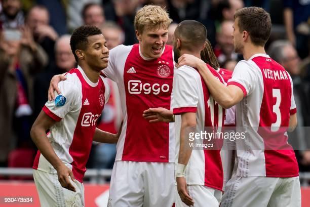 David Neres of Ajax Rasmus Kristensen of Ajax Hakim Ziyech of Ajax Lasse Schone of Ajax Joel Veltman of Ajax during the Dutch Eredivisie match...