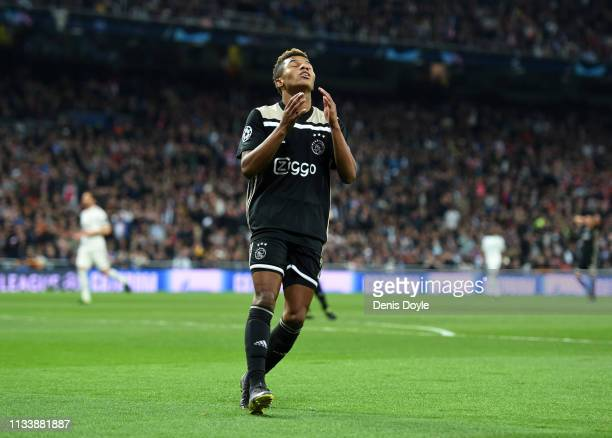 David Neres of Ajax reacts during the UEFA Champions League Round of 16 Second Leg match between Real Madrid and Ajax at Bernabeu on March 05 2019 in...