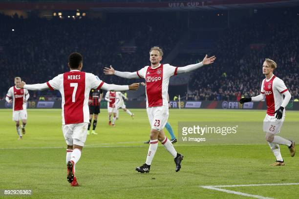 David Neres of Ajax Siem de Jong of Ajax Kasper Dolberg of Ajax during the Dutch Eredivisie match between Ajax Amsterdam and sbv Excelsior at the...