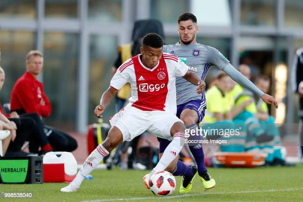 David Neres of Ajax Yevhenii Makarenko of Anderlecht during the Club Friendly match between Ajax v Anderlecht at the Olympisch Stadion on July 13...