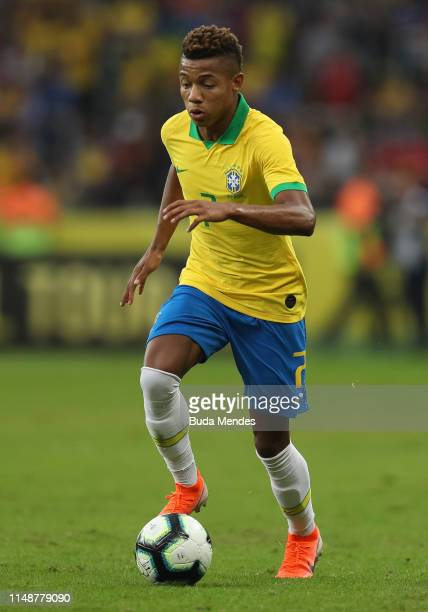 David Neres of Brazil controls the ball during the International Friendly Match between Brazil and Honduras at Beira Rio Stadium on June 9 2019 in...