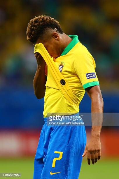 David Neres of Brazil reacts during the Copa America Brazil 2019 group A match between Brazil and Venezuela at Arena Fonte Nova on June 18 2019 in...