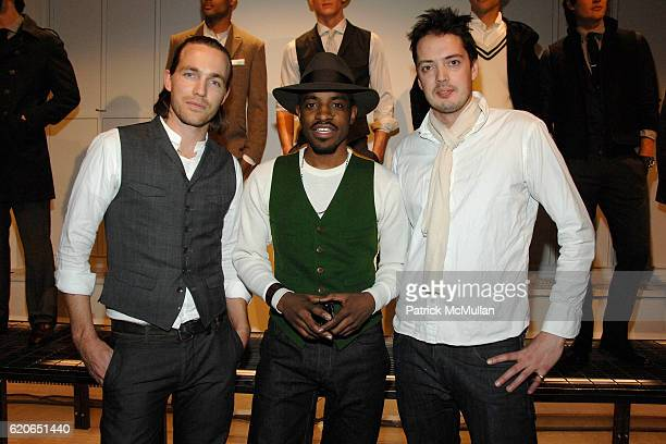 David Neville Andre 3000 and Marcus Wainwright attend GQ/CFDA Best New Menswear Designers Party at 620 Fifth Avenue on January 30 2008 in New York...