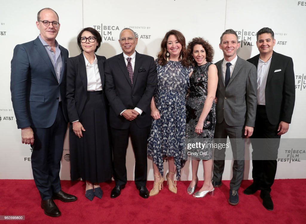 David Nevins, Ann Curry, Dean Baquet, Liz Garbus, Jenny Carchman, Justun Wilkes and Vinnie Malhotra attend Showtime's World Premiere of The Fourth Estate at Tribeca Film Festival Screening at BMCC Tribeca Performing Arts Center on April 28, 2018 in New York City.