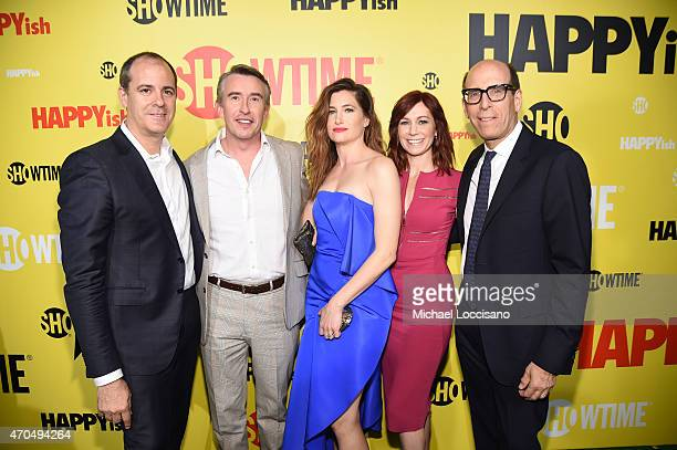 """David Nevins Steve Coogan Kathryn Hahn Carrie Preston and Matthew C Blank attend the premiere of the SHOWTIME original comedy series """"HAPPYish"""" on..."""