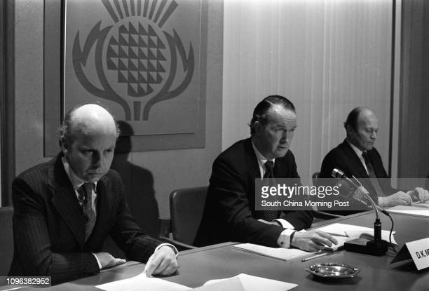 David Newbigging , Chairman of Jardine Matheson, and Managing Director Jeremy Brown attending a press conference. 11APR78