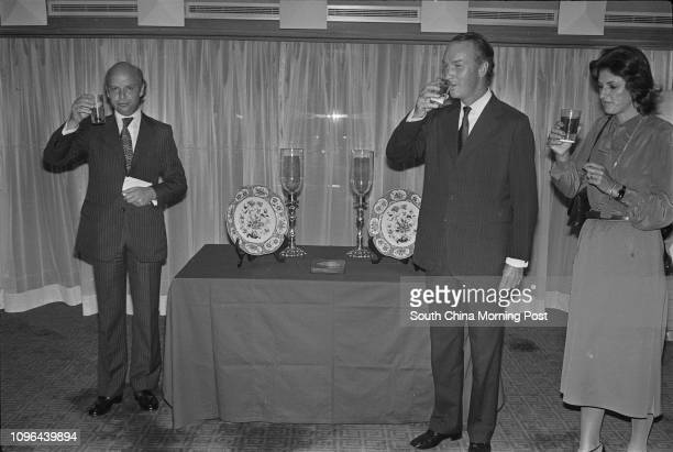 David Newbigging Chairman of Jardine Matheson toasting at the farewell party of his staff Jeremy Brown 15DEC78