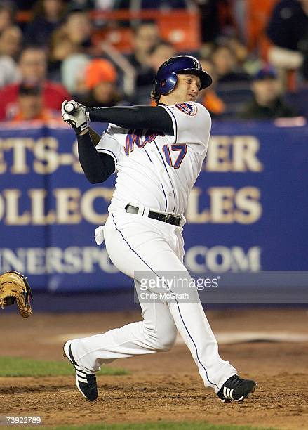David Newhan of the New York Mets swings at the pitch during the MLB game against the Philadelphia Phillies at Shea Stadium on April 11 2007 in the...