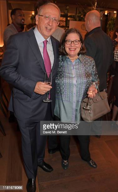 David Newton and Mina Gerowin attend a lunch hosted by Amanda Staveley for 'Wellbeing Of Women', Britain's foremost female health charity investing...