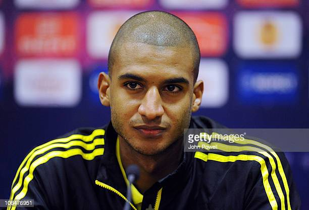 David Ngog of Liverpool attends a press conference prior to their Europa League Group K match against Napoli at Anfield on November 3 2010 in...
