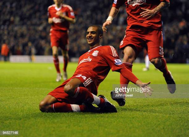 David Ngog of Liverpool celebrates afer scoring against Wigan Athletic during the Barclays Premier League match between Liverpool and Wigan Athletic...
