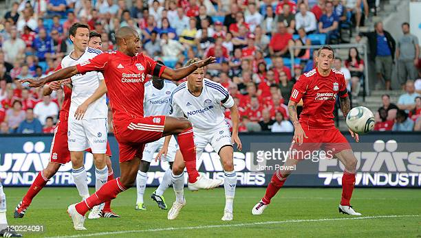 David Ngog of Liverpool comes close during the preseason friendly between Valerengra and Liverpool at the Ullevaal Stadium on August 1 2011 in Oslo...