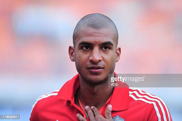 David Ngog of Liverpool in action before the preseason friendly match between Guangdong Sunray Cave and Liverpool at Guangdong Provincial People's...