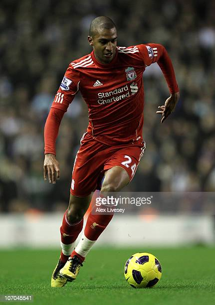 David Ngog of Liverpool in action during the Barclays Premier League match between Liverpool and West Ham United at Anfield on November 20 2010 in...