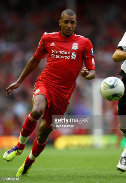 David Ngog of Liverpool in action during the pre season friendly match between Liverpool and Valencia at Anfield on August 6 2011 in Liverpool England