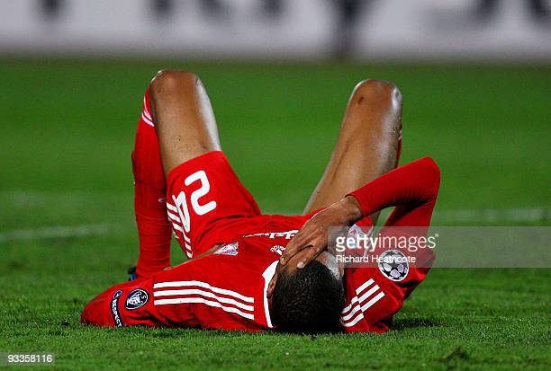 David Ngog of Liverpool lies on the ground during the UEFA Champions League group E match between Debrecen and Liverpool at the Ferenc Puskas Stadium...