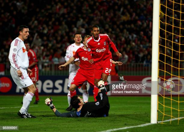 David Ngog of Liverpool scores the first goal during the UEFA Champions League group E match between Debrecen and Liverpool at the Ferenc Puskas...