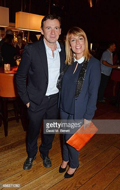 David Nicholls and Fay Ripley attend the launch of new novel Us by David Nicholls in the Booking Office Bar Restaurant at the St Pancras Renaissance...