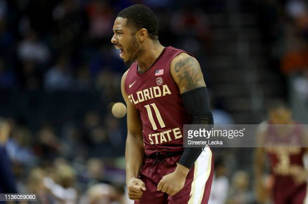 David Nichols of the Florida State Seminoles reacts against the Virginia Cavaliers during their game in the semifinals of the 2019 Men's ACC...
