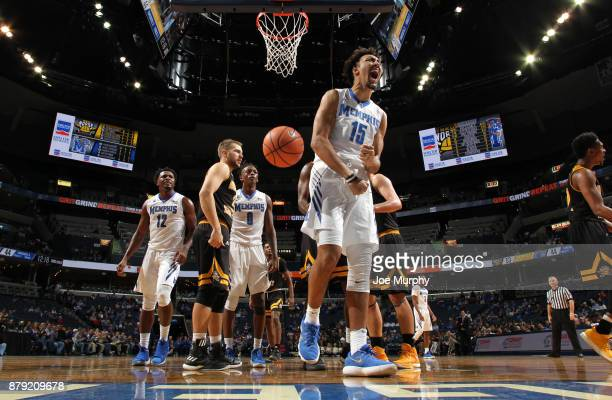 David Nickelberry of the Memphis Tigers celebrates after a play against the Northern Kentucky Norse on November 25 2017 at FedExForum in Memphis...