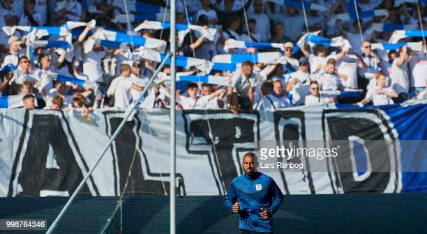 David Nielsen head coach of AGF Aarhus in front of the fans prior to the Danish Superliga match between FC Midtjylland and AGF Aarhus at MCH Arena on...