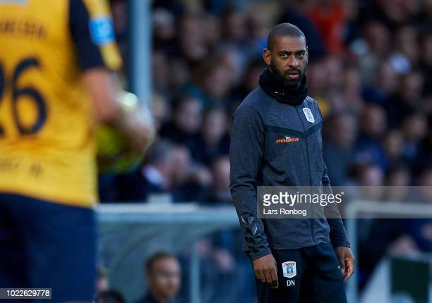 David Nielsen head coach of AGF Aarhus looks on during the Danish Superliga match between Hobro IK and AGF Aarhus at DS Arena on August 24 2018 in...