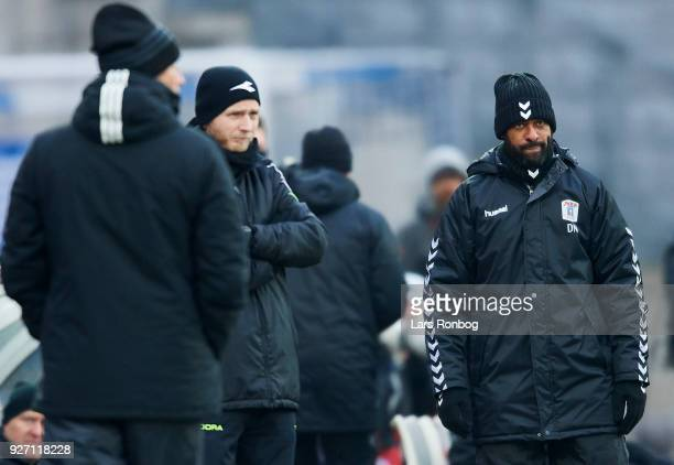 David Nielsen head coach of AGF Aarhus looks on during the Danish Alka Superliga match between AGF Aarhus and FC Copenhagen at Ceres park on March 4...