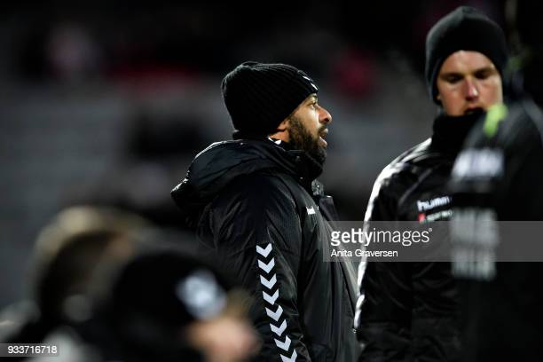 David Nielsen head coach of AGF Aarhus looks on during the Danish Alka Superliga match between AGF Aarhus and AaB Aalborg at Ceres Park on March 18...