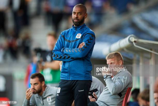 David Nielsen head coach of AGF Aarhus looks on during the Danish Superliga match between FC Midtjylland and AGF Aarhus at MCH Arena on July 14 2018...