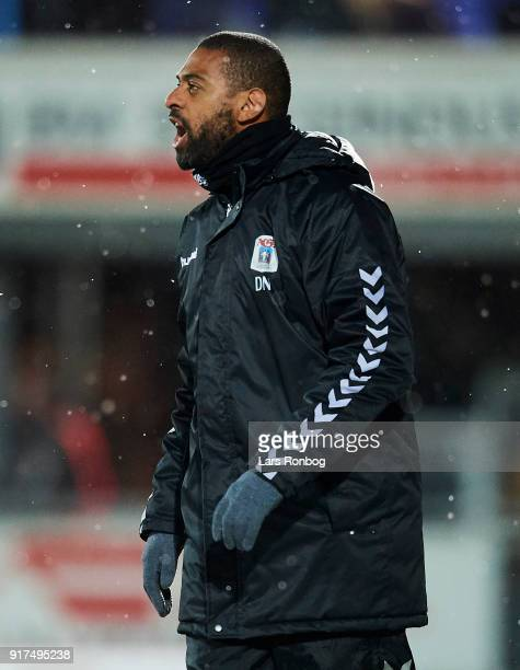 David Nielsen head coach of AGF Aarhus shouts during the Danish Alka Superliga match between Hobro IK and AGF Aarhus at DS Arena on February 12 2018...