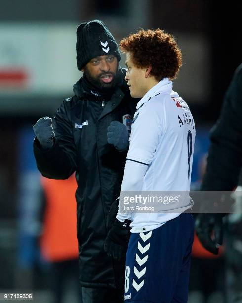 David Nielsen head coach of AGF Aarhus speaks to Mustafa Amini of AGF Aarhus during the Danish Alka Superliga match between Hobro IK and AGF Aarhus...