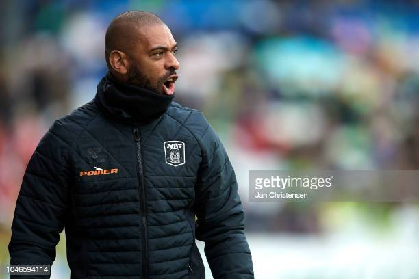 David Nielsen head coach of AGF Arhus gives instructions during the Danish Superliga match between OB Odense and AGF Arhus at Nature Energy Park on...