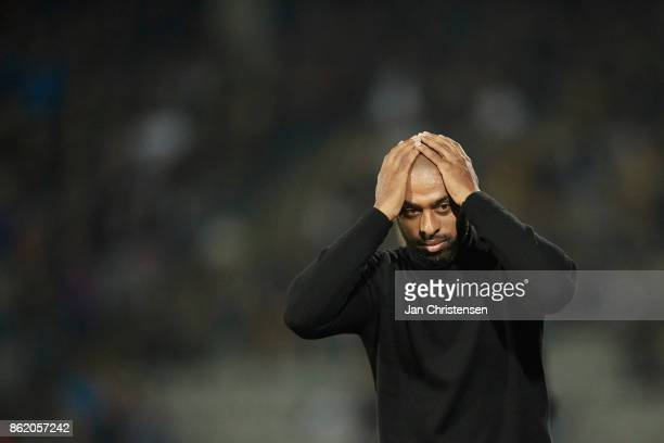 David Nielsen head coach of AGF Arhus show frustrations during the Danish Alka Superliga match between AGF Arhus and Lyngby BK at Ceres Park on...