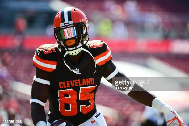 David Njoku of the Cleveland Browns catches a pass during pregame before a game against the Tampa Bay Buccaneers on October 21 2018 at Raymond James...