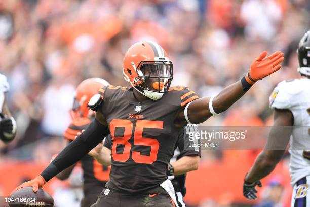 David Njoku of the Cleveland Browns celebrates a play in the first half against the Baltimore Ravens at FirstEnergy Stadium on October 7 2018 in...