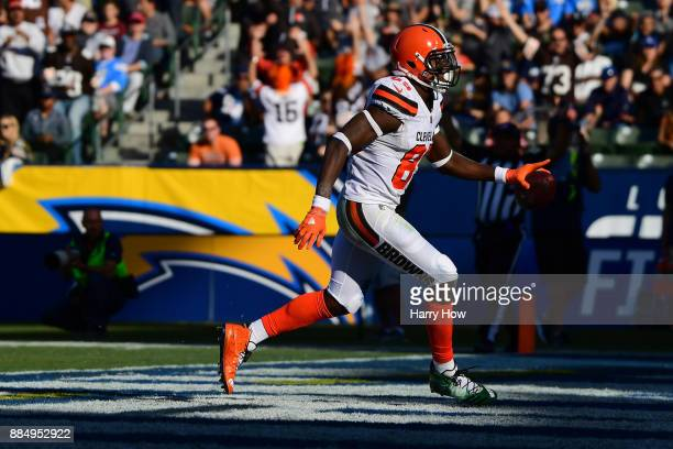 David Njoku of the Cleveland Browns celebrates a touchdown during the second quarter of the game against the Los Angeles Chargers at StubHub Center...