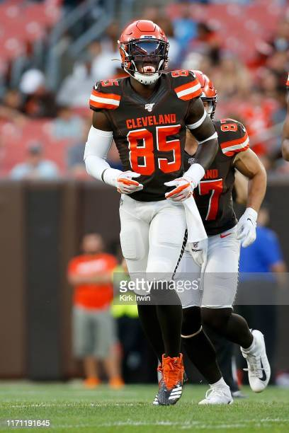 David Njoku of the Cleveland Browns lines up for a play during a preseason game against the Detroit Lions at FirstEnergy Stadium on August 29 2019 in...