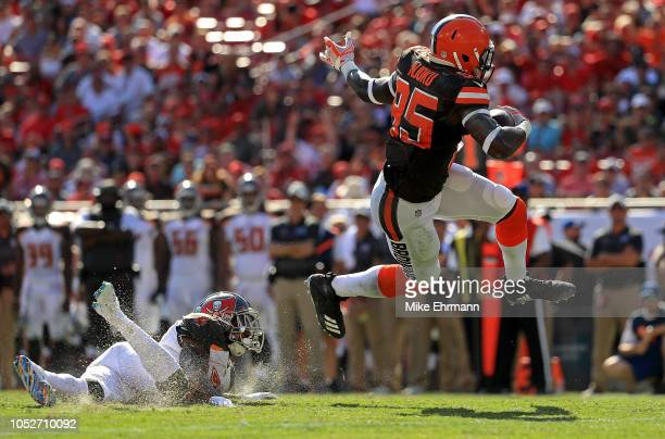 David Njoku of the Cleveland Browns runs after a catch during a game against the Tampa Bay Buccaneers at Raymond James Stadium on October 21 2018 in...