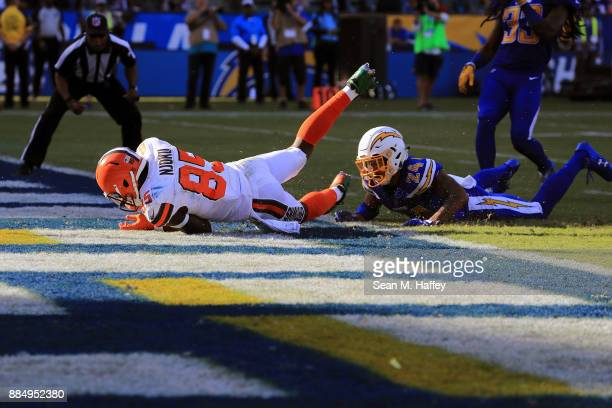 David Njoku of the Cleveland Browns scores a touchdown during the second quarter of the game against the Los Angeles Chargers at StubHub Center on...