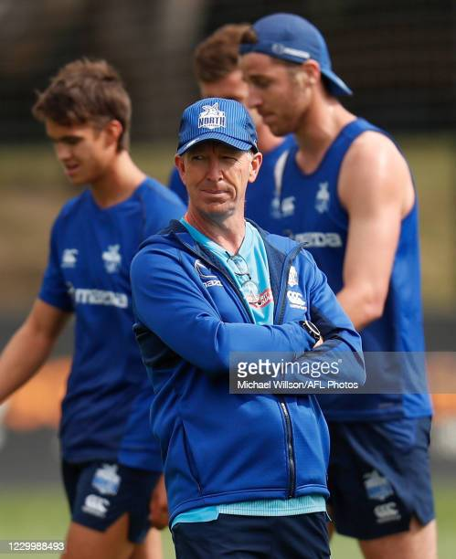David Noble, Senior Coach of the Kangaroos looks on during the North Melbourne Kangaroos training session at Arden Street on December 07, 2020 in...