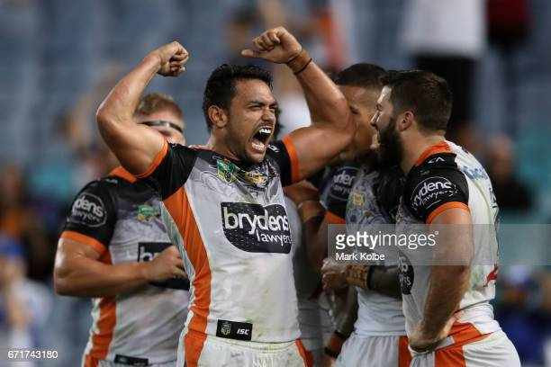 David Nofoaluma of the Tigers celebrates Kevin Naiqama scoring a try during the round eight NRL match between the Wests Tigers and the Canterbury...