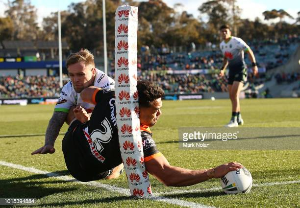 David Nofoaluma of the Tigers dives to score a try that was later disallowed during the round 22 NRL match between the Canberra Raiders and the Wests...