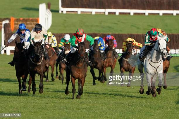 David Noonan riding Warthog clear the last to win The Caspian Caviar Gold Cup Handicap Chase from Bridget Andrews and Spiritofthegames at Cheltenham...